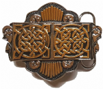 Gold & Silver Plated Double Celtic Design Belt Buckle with display stand. Code KM6